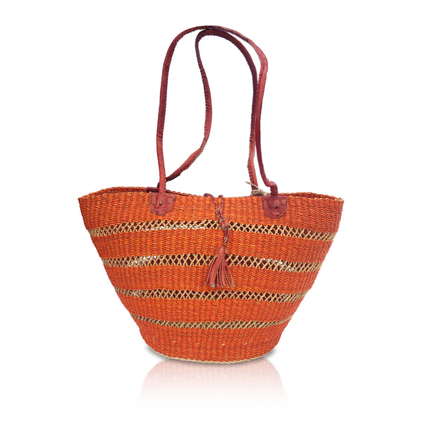Windows Basket Bag in Orange