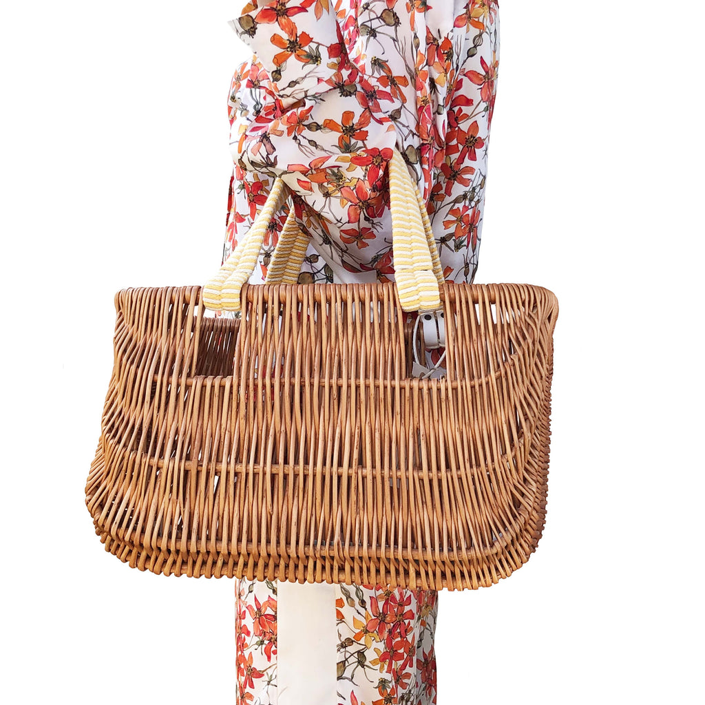 Willow Basket Bag with Yellow Handles