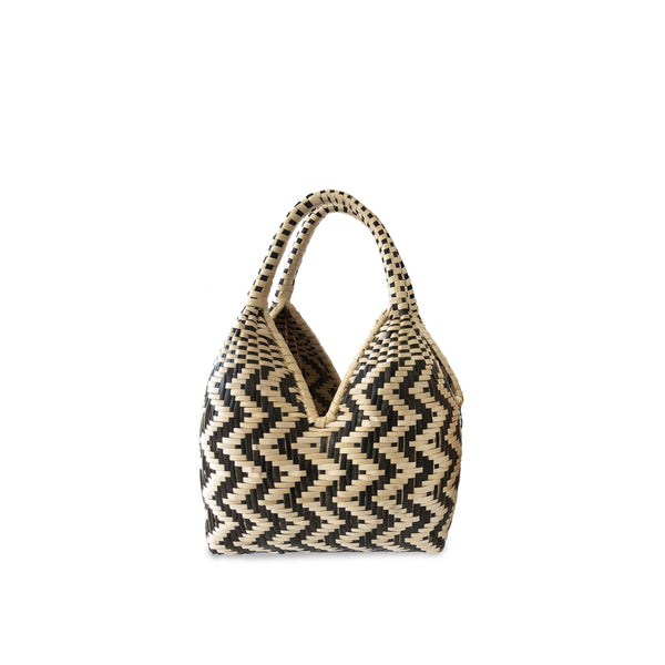 Gaupi Small Woven Clutch Basket in Zig Zag Black