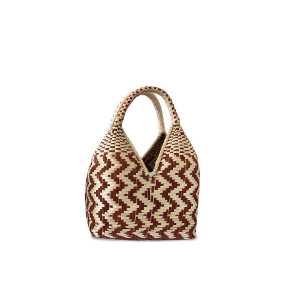 Gaupi Small Woven Clutch Basket in Zig Zag Red