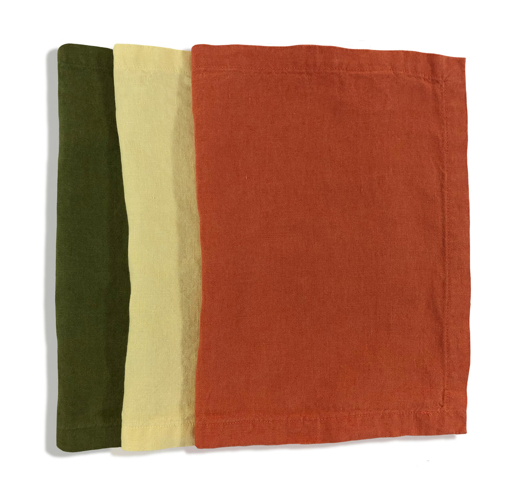 Orange Rust Linen Place Mats