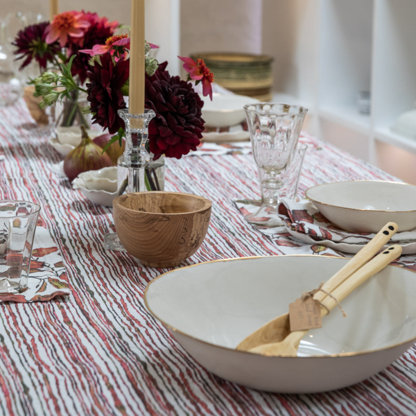 Red Stem Linen Table Cloth