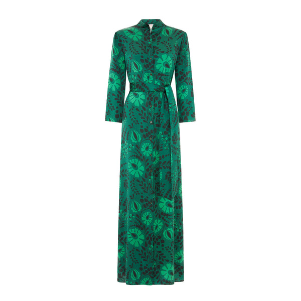 The Long Flirt Shirt Dress in Green