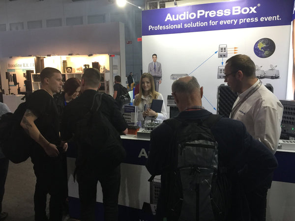 AudioPressBox and customers at Prolight+sound 2017 exhibition in Frankfurt