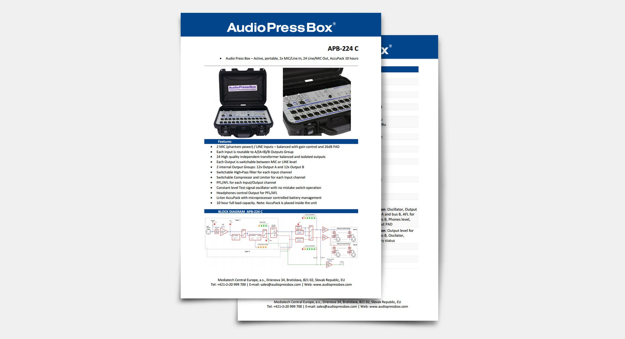 AudioPressBox Datenblatt, Pressebox Datenblatt