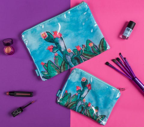 Blooming Cactus Makeup Pouch
