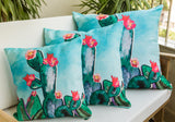 Turquoise Blooming Cactus Cushion