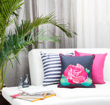 Rose on Grey Cushion Cover with Fuchsia Trim