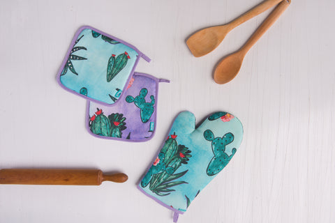 Cactus Oven Mitt and Pot Holders