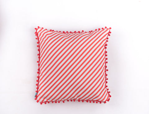 Red & White Stripes Christmas Cushion Cover