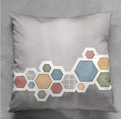 Colored Hexagons Cushion