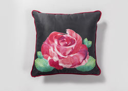 Rose on Grey Coushie with Fuchsia Trim
