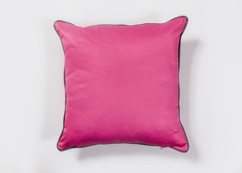 Fuchsia Cushion Cover with Gray Pipping