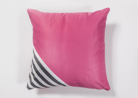 Fuchsia Coushie with Stripes corner