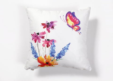 Flower and Butterfly Orange Embroidered Cushion Cover