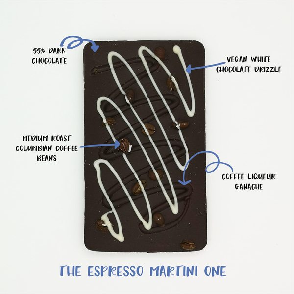 The Espresso Martini One - The Home Of Fully Loaded boozy Chocolate. Large Slabbs of boozy chocolate with a variety of alcoholic ganaches; gin, rum, whisky, amaretto, baileys and toppings. Available as monthly subscriptions.