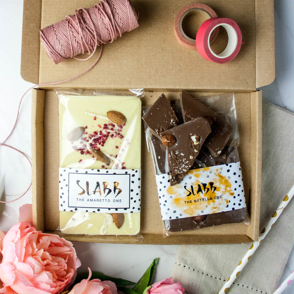 Couples Monthly Chocolate Subscription Box (Vegan Option Available) - The Home Of Fully Loaded boozy Chocolate. Large Slabbs of boozy chocolate with a variety of alcoholic ganaches; gin, rum, whisky, amaretto, baileys and toppings. Available as monthly subscriptions.