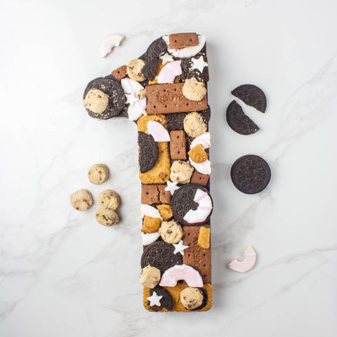 Giant Dark Chocolate 'Biscuit Bash' Number - Vegan - The Home Of Fully Loaded boozy Chocolate. Large Slabbs of boozy chocolate with a variety of alcoholic ganaches; gin, rum, whisky, amaretto, baileys and toppings. Available as monthly subscriptions.