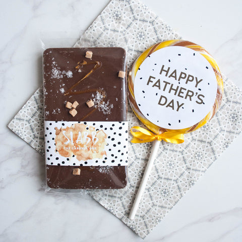 Father's Day Salted Caramel & Giant Lollipop Set - The Home Of Fully Loaded boozy Chocolate. Large Slabbs of boozy chocolate with a variety of alcoholic ganaches; gin, rum, whisky, amaretto, baileys and toppings. Available as monthly subscriptions.
