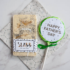 Father's Day Gin Chocolate & Giant Lollipop Set - The Home Of Fully Loaded boozy Chocolate. Large Slabbs of boozy chocolate with a variety of alcoholic ganaches; gin, rum, whisky, amaretto, baileys and toppings. Available as monthly subscriptions.