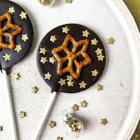 Dark Chocolate Cinnamon Pretzel Star Lollipop - Vegan