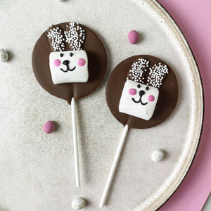 Milk Chocolate Bunny Marshmallow Easter Lollipop - The Home Of Fully Loaded boozy Chocolate. Large Slabbs of boozy chocolate with a variety of alcoholic ganaches; gin, rum, whisky, amaretto, baileys and toppings. Available as monthly subscriptions.