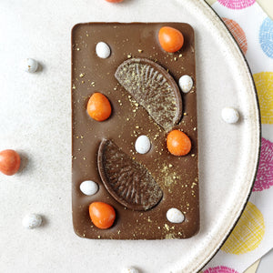 The Orange Easter One - The Home Of Fully Loaded boozy Chocolate. Large Slabbs of boozy chocolate with a variety of alcoholic ganaches; gin, rum, whisky, amaretto, baileys and toppings. Available as monthly subscriptions.