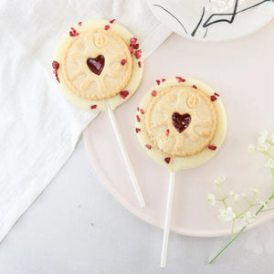 White Chocolate Jammy Dodger Lollipop