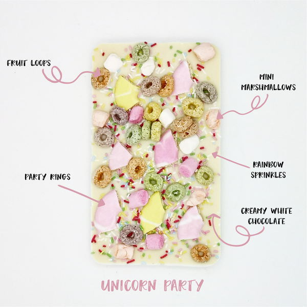 The Unicorn Party One - The Home Of Fully Loaded boozy Chocolate. Large Slabbs of boozy chocolate with a variety of alcoholic ganaches; gin, rum, whisky, amaretto, baileys and toppings. Available as monthly subscriptions.