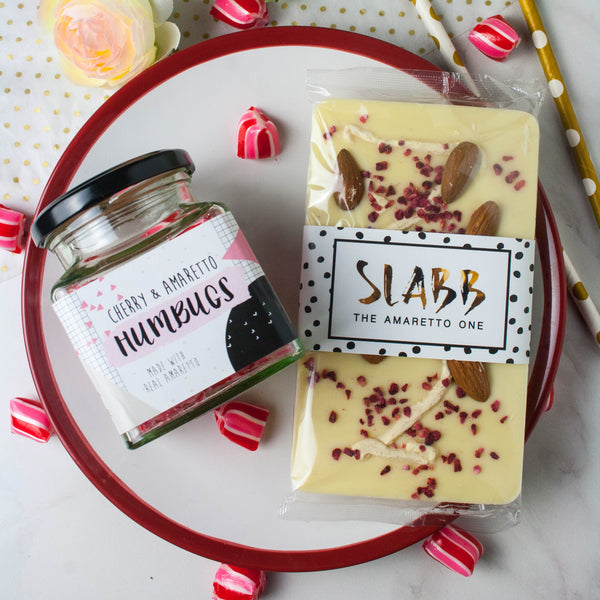 Amaretto Lover's Sweets and Chocolate Set - The Home Of Fully Loaded boozy Chocolate. Large Slabbs of boozy chocolate with a variety of alcoholic ganaches; gin, rum, whisky, amaretto, baileys and toppings. Available as monthly subscriptions.