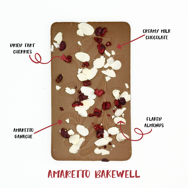 The Amaretto One - The Home Of Fully Loaded boozy Chocolate. Large Slabbs of boozy chocolate with a variety of alcoholic ganaches; gin, rum, whisky, amaretto, baileys and toppings. Available as monthly subscriptions.