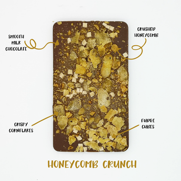 The Honeycomb Crunch One - The Home Of Fully Loaded boozy Chocolate. Large Slabbs of boozy chocolate with a variety of alcoholic ganaches; gin, rum, whisky, amaretto, baileys and toppings. Available as monthly subscriptions.