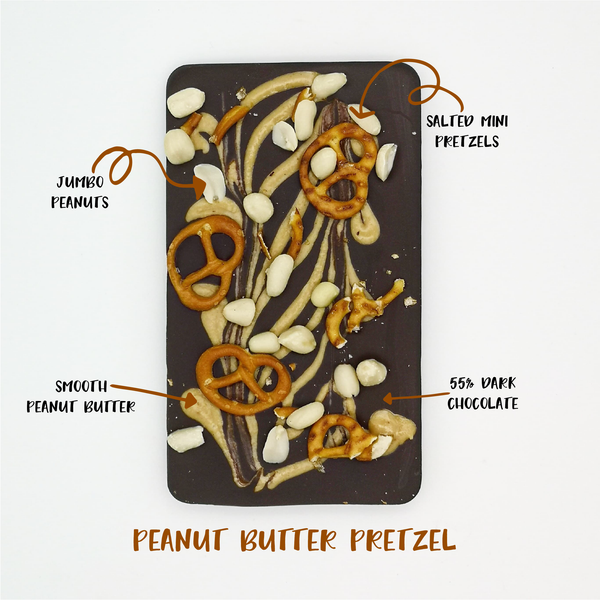 The Peanut Butter Pretzel One - The Home Of Fully Loaded boozy Chocolate. Large Slabbs of boozy chocolate with a variety of alcoholic ganaches; gin, rum, whisky, amaretto, baileys and toppings. Available as monthly subscriptions.