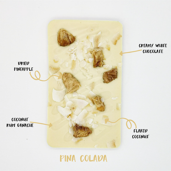 The Pina Colada One - The Home Of Fully Loaded boozy Chocolate. Large Slabbs of boozy chocolate with a variety of alcoholic ganaches; gin, rum, whisky, amaretto, baileys and toppings. Available as monthly subscriptions.