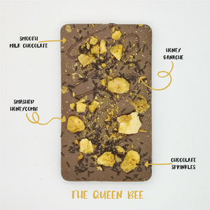 The Queen Bee One - The Home Of Fully Loaded boozy Chocolate. Large Slabbs of boozy chocolate with a variety of alcoholic ganaches; gin, rum, whisky, amaretto, baileys and toppings. Available as monthly subscriptions.