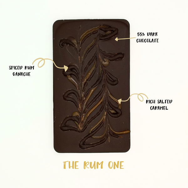 The Rum One - The Home Of Fully Loaded boozy Chocolate. Large Slabbs of boozy chocolate with a variety of alcoholic ganaches; gin, rum, whisky, amaretto, baileys and toppings. Available as monthly subscriptions.
