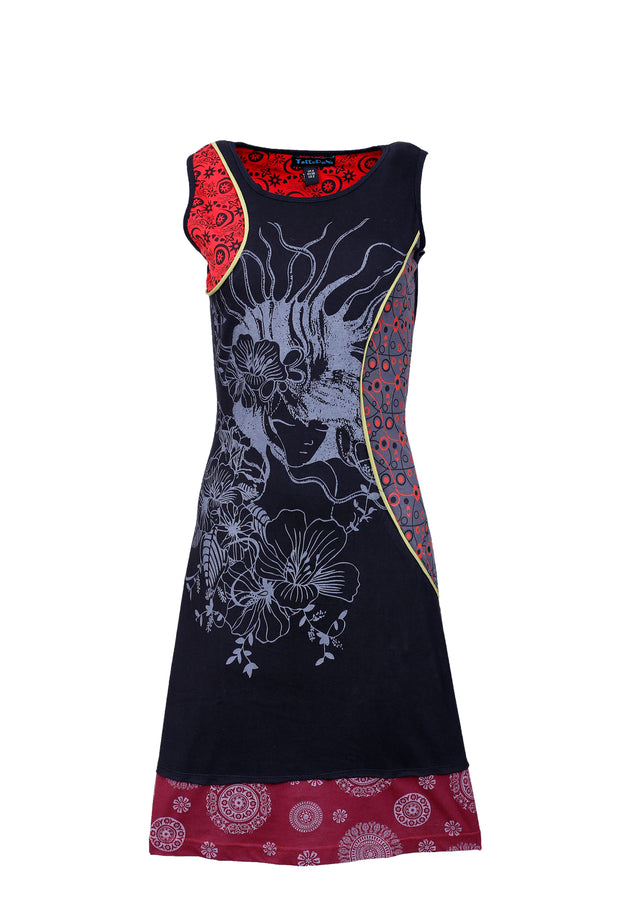 Ladies summer sleeveless dress with flower pattern print & embroidery-SN1340 - Craze Trade Limited
