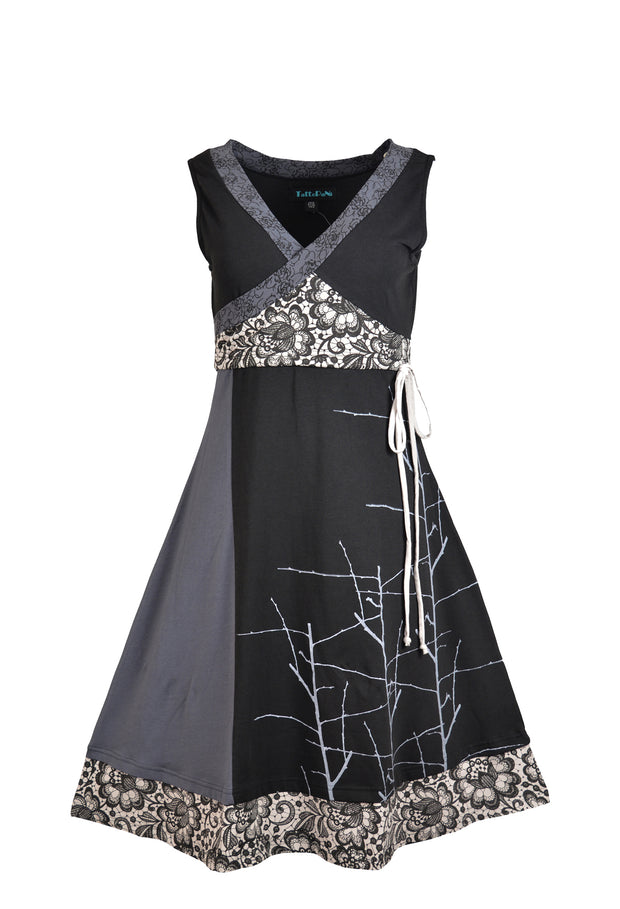 Women's Sleeveless V-Neck Organic Cotton Dress Print & Patch Evening Dress - Craze Trade Limited