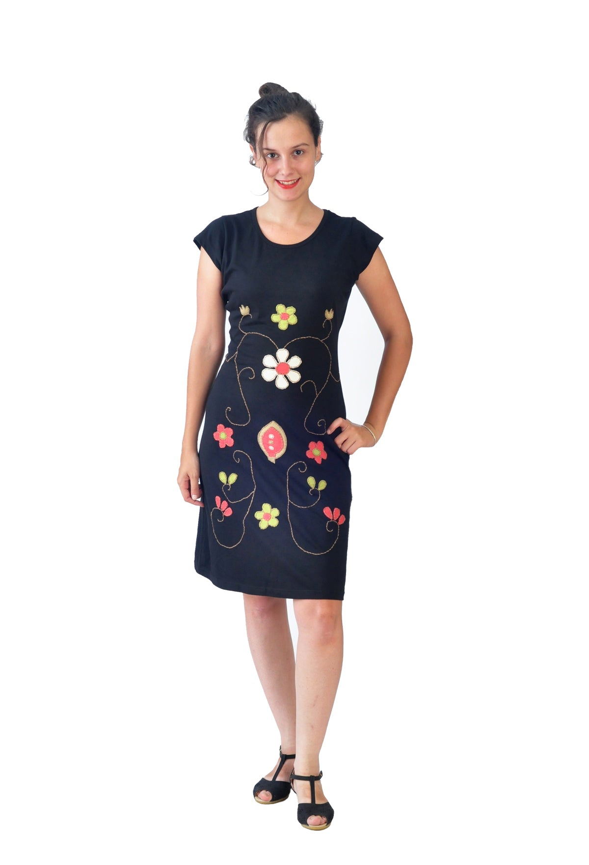 Ladies Short Sleeved Cotton Dress with Multicolored Flower Embroidery - Craze Trade Limited
