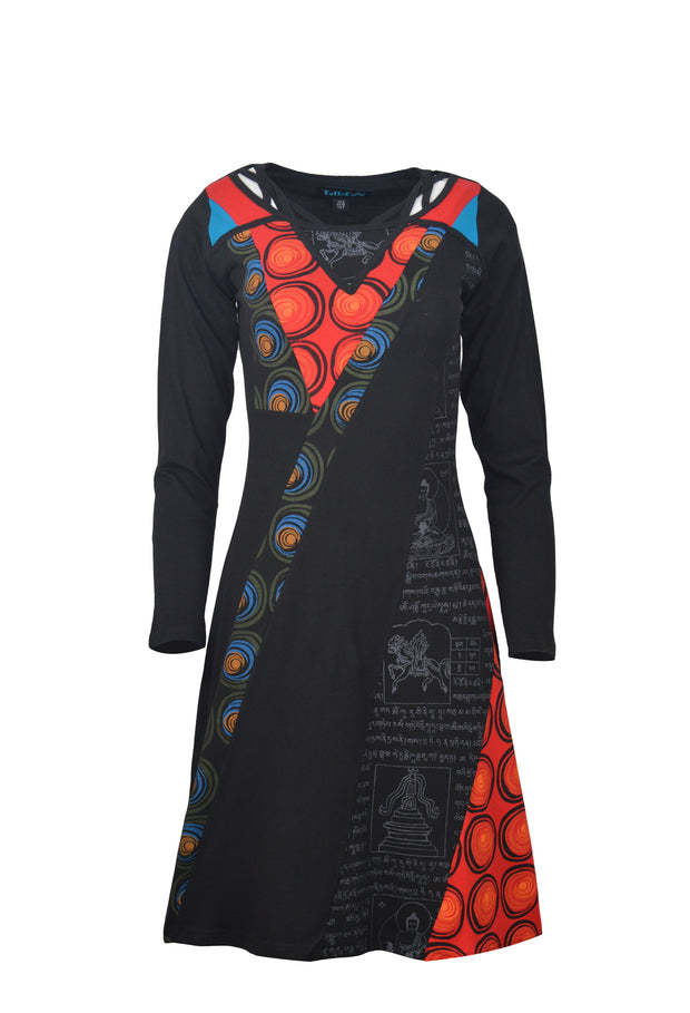 Women's Long Sleeve Cotton Dress Mantra & Circle Print Evening Dress - Craze Trade Limited