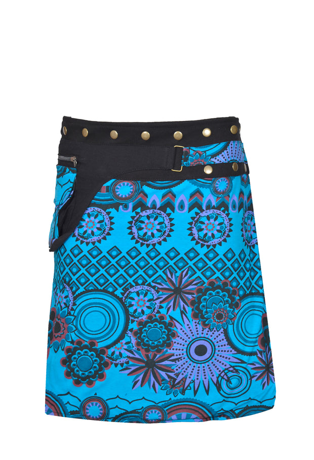 Ladies Fashion Multi color Wrap Round Hippy Popper Skirt - Craze Trade Limited