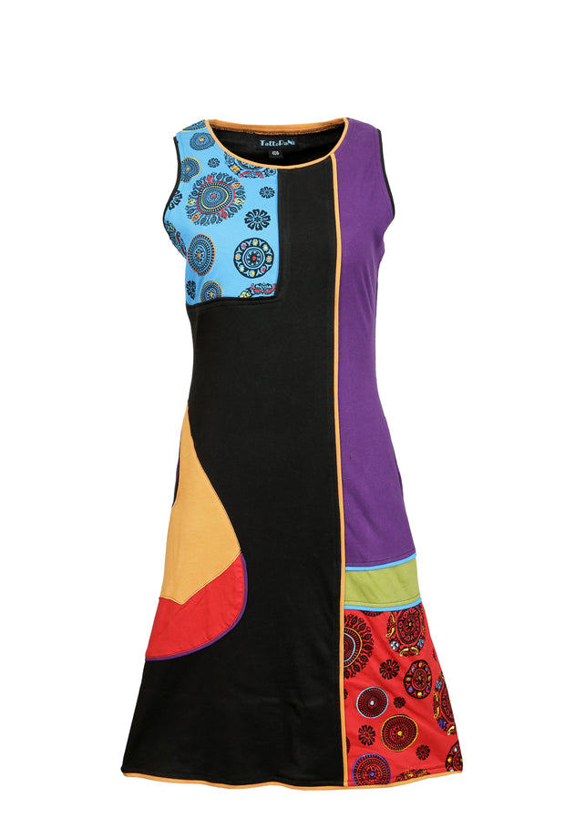 Sleeveless Dress with Colorful Patch and Embroidery Design - Craze Trade Limited