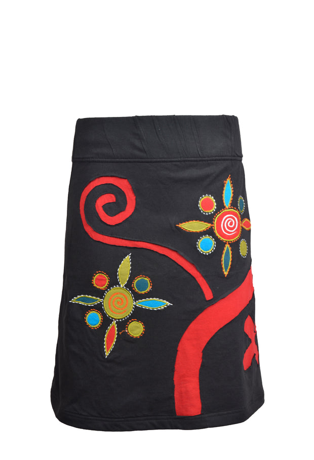 Ladies Mini Skirt With An Elasticated Waistband & Colorful Patch & Embroidery- SN1182 - Craze Trade Limited