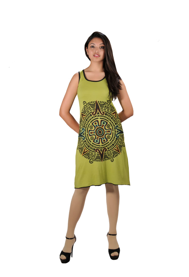 Front Mandala Embroidery Sleeveless Dress. - Craze Trade Limited