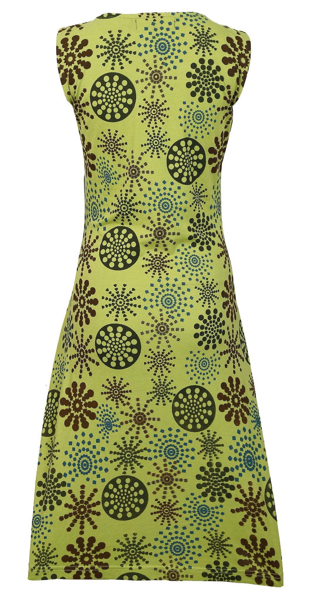 Ladies Summer Sleeveless Dress with flower Pattern Print and Embroidery- SN1379 - Craze Trade Limited
