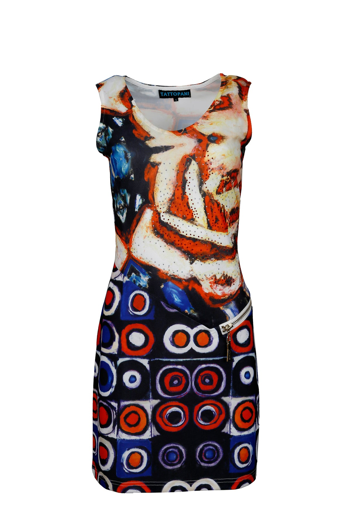 Ladies sleeveless dress with multicolored pattern print & rhinestones - Craze Trade Limited