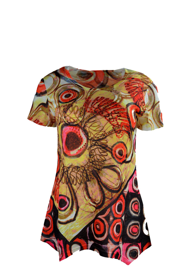 Ladies Short Sleeved Multicolored Tops With Colored Prints - Craze Trade Limited