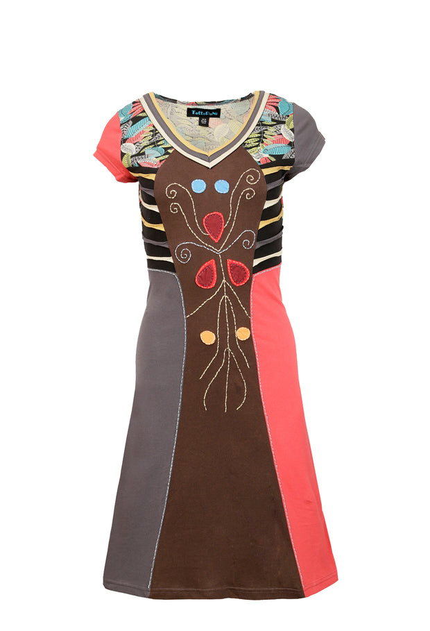 Ladies Short Sleeved Multicolored Dress With Leaves Pattern Print & Embroidery - Craze Trade Limited