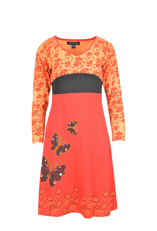 Women's Long Sleeve Cotton Dress Butterfly Embroidery Evening Dress - Craze Trade Limited