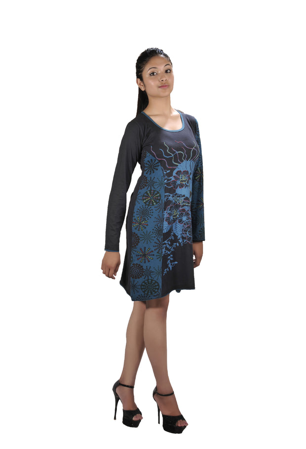 Long Sleeved Dress with Front Embroidery. - Craze Trade Limited